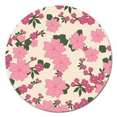Vintage Floral Wallpaper Background In Shades Of Pink Magnet 5  (Round)