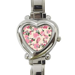 Vintage Floral Wallpaper Background In Shades Of Pink Heart Italian Charm Watch