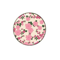 Vintage Floral Wallpaper Background In Shades Of Pink Hat Clip Ball Marker (4 pack)
