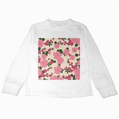 Vintage Floral Wallpaper Background In Shades Of Pink Kids Long Sleeve T-Shirts