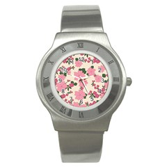 Vintage Floral Wallpaper Background In Shades Of Pink Stainless Steel Watch
