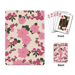 Vintage Floral Wallpaper Background In Shades Of Pink Playing Card