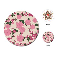 Vintage Floral Wallpaper Background In Shades Of Pink Playing Cards (round)