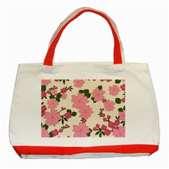 Vintage Floral Wallpaper Background In Shades Of Pink Classic Tote Bag (Red)