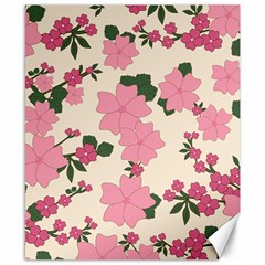 Vintage Floral Wallpaper Background In Shades Of Pink Canvas 8  x 10