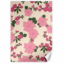 Vintage Floral Wallpaper Background In Shades Of Pink Canvas 12  x 18
