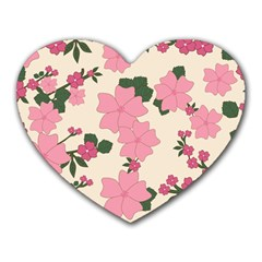 Vintage Floral Wallpaper Background In Shades Of Pink Heart Mousepads