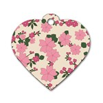 Vintage Floral Wallpaper Background In Shades Of Pink Dog Tag Heart (One Side) Front