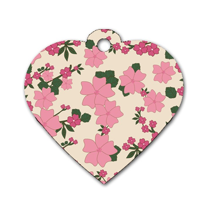 Vintage Floral Wallpaper Background In Shades Of Pink Dog Tag Heart (One Side)