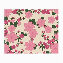 Vintage Floral Wallpaper Background In Shades Of Pink Small Glasses Cloth (2-Side)