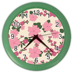Vintage Floral Wallpaper Background In Shades Of Pink Color Wall Clocks