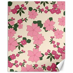 Vintage Floral Wallpaper Background In Shades Of Pink Canvas 11  x 14