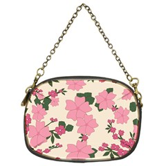 Vintage Floral Wallpaper Background In Shades Of Pink Chain Purses (one Side)