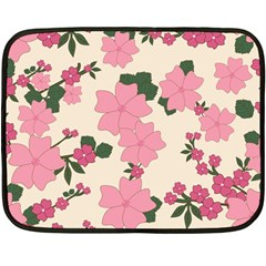 Vintage Floral Wallpaper Background In Shades Of Pink Double Sided Fleece Blanket (mini)