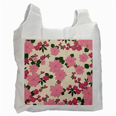 Vintage Floral Wallpaper Background In Shades Of Pink Recycle Bag (two Side)
