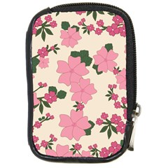 Vintage Floral Wallpaper Background In Shades Of Pink Compact Camera Cases