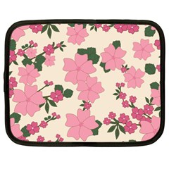 Vintage Floral Wallpaper Background In Shades Of Pink Netbook Case (xxl)