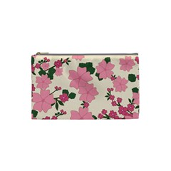Vintage Floral Wallpaper Background In Shades Of Pink Cosmetic Bag (Small)