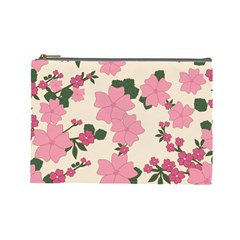 Vintage Floral Wallpaper Background In Shades Of Pink Cosmetic Bag (large)