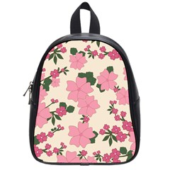 Vintage Floral Wallpaper Background In Shades Of Pink School Bags (Small)