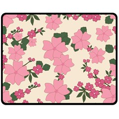 Vintage Floral Wallpaper Background In Shades Of Pink Fleece Blanket (medium)