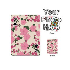 Vintage Floral Wallpaper Background In Shades Of Pink Playing Cards 54 (mini)
