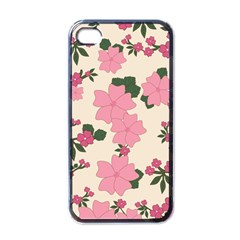 Vintage Floral Wallpaper Background In Shades Of Pink Apple Iphone 4 Case (black)