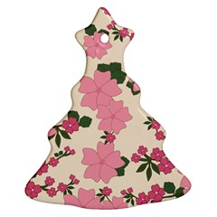 Vintage Floral Wallpaper Background In Shades Of Pink Christmas Tree Ornament (two Sides)