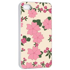 Vintage Floral Wallpaper Background In Shades Of Pink Apple Iphone 4/4s Seamless Case (white)