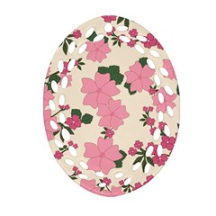 Vintage Floral Wallpaper Background In Shades Of Pink Oval Filigree Ornament (Two Sides)
