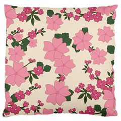 Vintage Floral Wallpaper Background In Shades Of Pink Large Cushion Case (Two Sides)