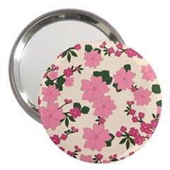 Vintage Floral Wallpaper Background In Shades Of Pink 3  Handbag Mirrors