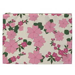 Vintage Floral Wallpaper Background In Shades Of Pink Cosmetic Bag (XXL)