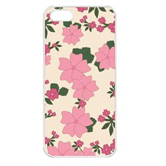 Vintage Floral Wallpaper Background In Shades Of Pink Apple iPhone 5 Seamless Case (White)