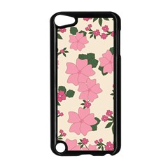 Vintage Floral Wallpaper Background In Shades Of Pink Apple iPod Touch 5 Case (Black)