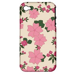 Vintage Floral Wallpaper Background In Shades Of Pink Apple iPhone 4/4S Hardshell Case (PC+Silicone)