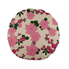 Vintage Floral Wallpaper Background In Shades Of Pink Standard 15  Premium Round Cushions