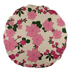 Vintage Floral Wallpaper Background In Shades Of Pink Large 18  Premium Round Cushions