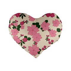 Vintage Floral Wallpaper Background In Shades Of Pink Standard 16  Premium Heart Shape Cushions
