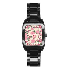 Vintage Floral Wallpaper Background In Shades Of Pink Stainless Steel Barrel Watch