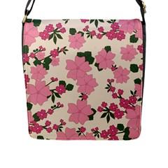 Vintage Floral Wallpaper Background In Shades Of Pink Flap Messenger Bag (L)