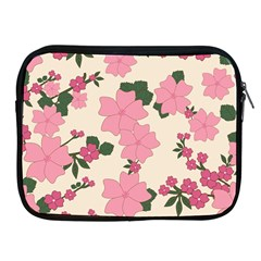 Vintage Floral Wallpaper Background In Shades Of Pink Apple iPad 2/3/4 Zipper Cases