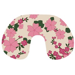 Vintage Floral Wallpaper Background In Shades Of Pink Travel Neck Pillows
