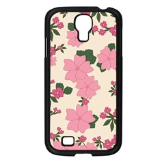 Vintage Floral Wallpaper Background In Shades Of Pink Samsung Galaxy S4 I9500/ I9505 Case (Black)