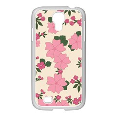 Vintage Floral Wallpaper Background In Shades Of Pink Samsung GALAXY S4 I9500/ I9505 Case (White)