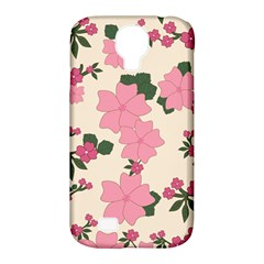 Vintage Floral Wallpaper Background In Shades Of Pink Samsung Galaxy S4 Classic Hardshell Case (pc+silicone)