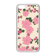 Vintage Floral Wallpaper Background In Shades Of Pink Apple iPhone 5C Seamless Case (White)