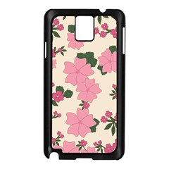 Vintage Floral Wallpaper Background In Shades Of Pink Samsung Galaxy Note 3 N9005 Case (Black)