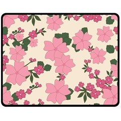 Vintage Floral Wallpaper Background In Shades Of Pink Double Sided Fleece Blanket (medium)