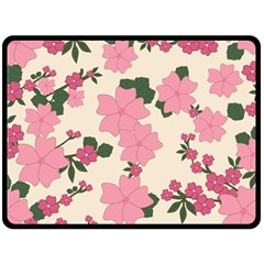 Vintage Floral Wallpaper Background In Shades Of Pink Double Sided Fleece Blanket (Large)